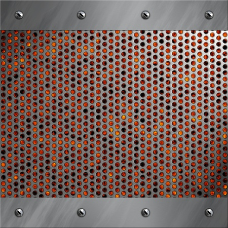 Brushed aluminum frame bolted to a perforated metal over fire, hot lava or melted metal Stock Photo - 14613176