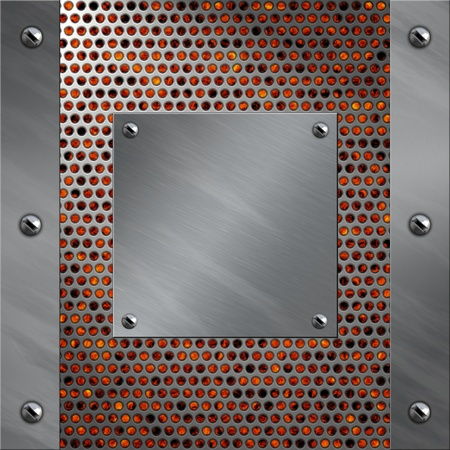 bolted: Brushed aluminum frame bolted to a perforated metal over fire, hot lava or melted metal