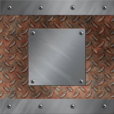 diamond plate: Brushed aluminum frame bolted to a grudge and rusted diamond metal background