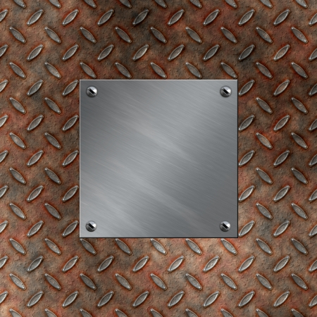 Brushed aluminum plate bolted to a grudge and rusted diamond metal background photo