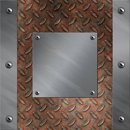 bolted: Brushed aluminum frame bolted to a grudge and rusted diamond metal background