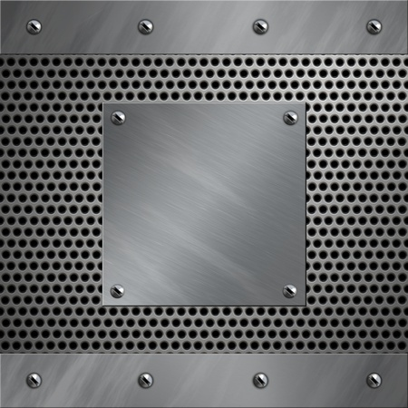 brushed aluminum: Brushed aluminum frame bolted to a perforated metal background