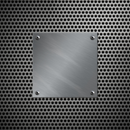 bolted: Aluminum plate bolted to a perforated metal background