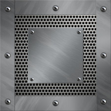Brushed aluminum frame bolted to a perforated metal background