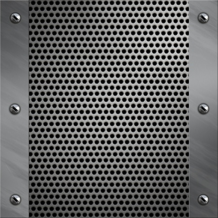 bolted: Brushed aluminum frame bolted to a perforated metal background