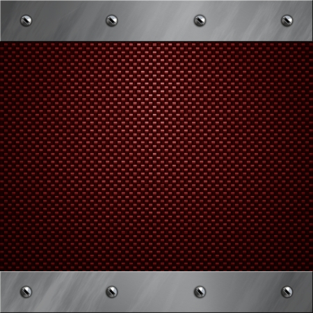 carbon steel: Brushed aluminum frame bolted to a red real carbon fiber background