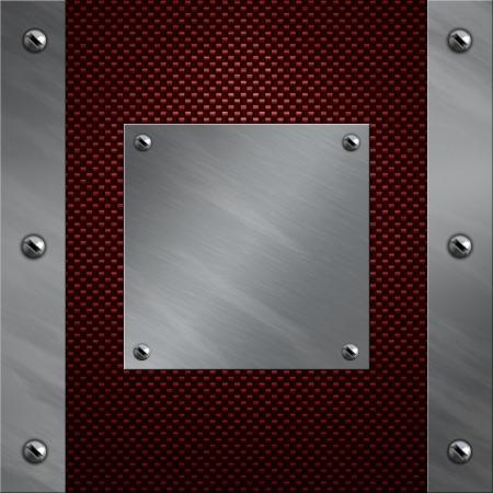 malla metalica: Marco de aluminio pulido atornillado a un fondo rojo real de fibra de carbono Foto de archivo
