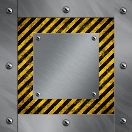 Brushed aluminum frame and plate bolted to a warning stripe background photo