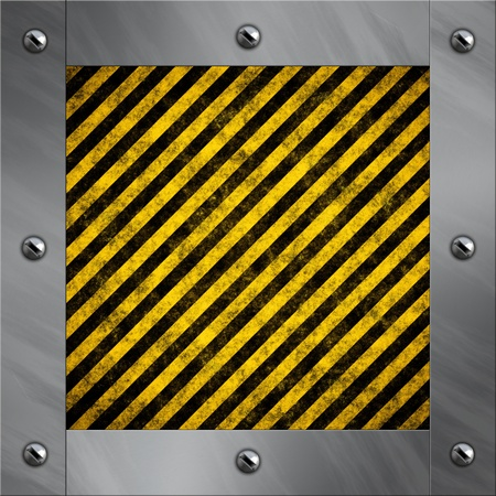 bolted: Brushed aluminum frame bolted to a warning stripe background