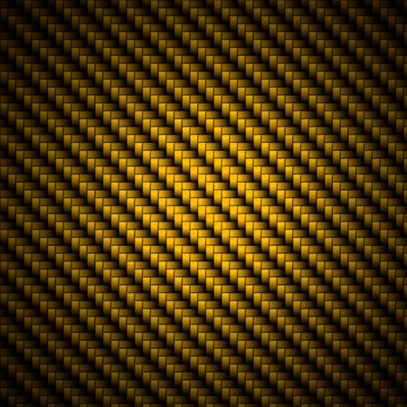 dark fiber: A realistic golden carbon fiber weave background or texture Stock Photo