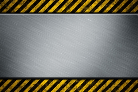 Metal template with warning stripe photo