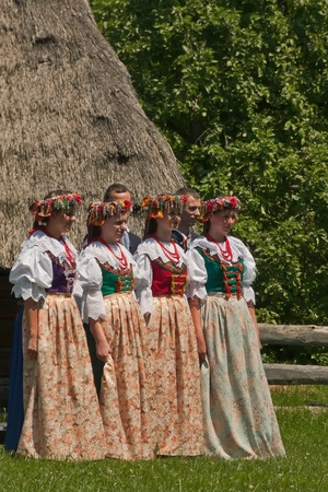 CHORZOW, SILESIA, POLAND - JUNE 12  Song and Dance Ensemble  Chorzow  perform during the 60th birthday of the Provincial Park of Culture and Recreation  WPKiW  in Chorzow, Poland on June 12, 2010 Editorial