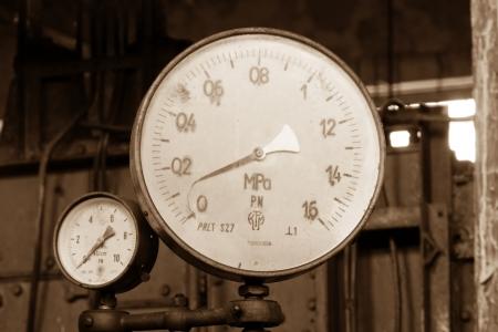 Vintage industrial pressure gauges photo