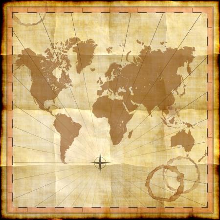 manchas de cafe: Mapa del mundo de papel viejo con manchas de caf�