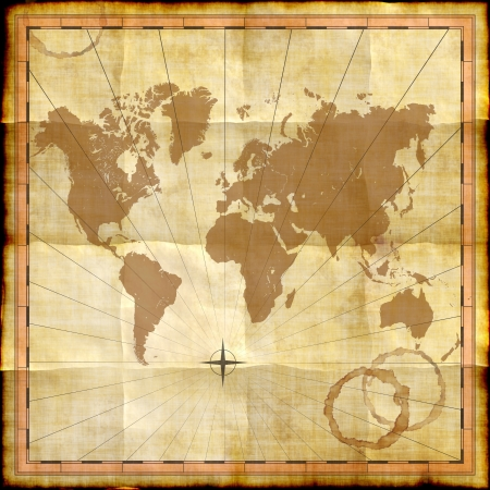 World map on old paper with coffee stains photo