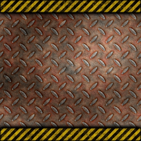 Grudge and rusted diamond metal background with warning stripes photo