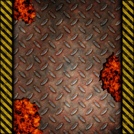 Grudge and rusted diamond metal background with holes over fire, hot lava or melted metal with warning stripes photo