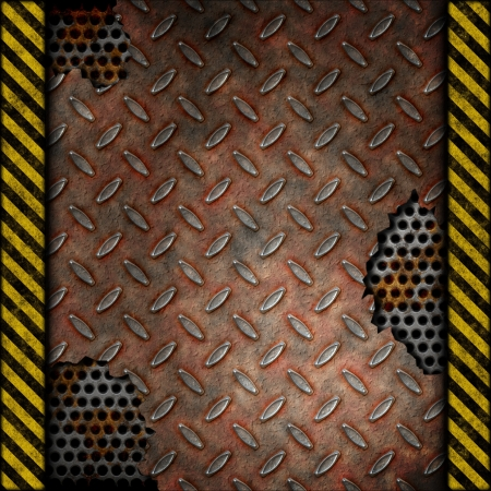 Grudge and rusted diamond metal background over perforated metal with warning stripes  photo