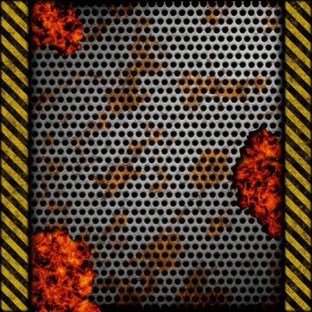 Perforated metal background with holes, rust and warning stripes over fire, hot lava or melted metal photo
