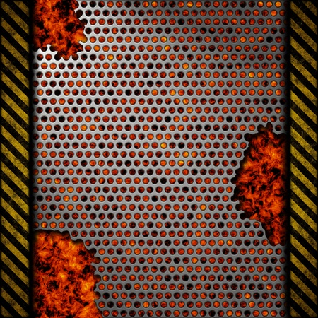 Perforated metal background with holes and warning stripes over fire, hot lava or melted metal photo