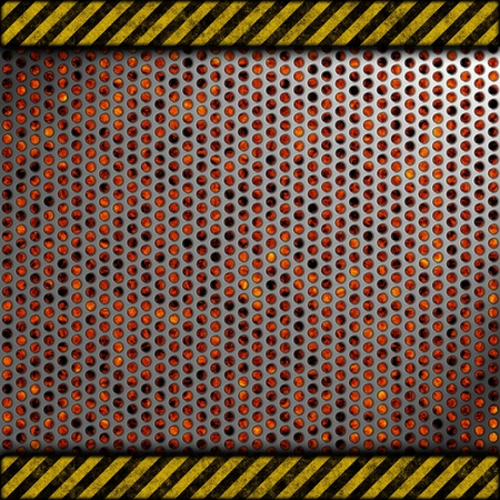 Perforated metal background with warning stripes over fire, hot lava or melted metal photo