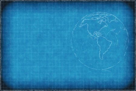 Blue chalkboard background with earth  Americas  and copyspace  photo