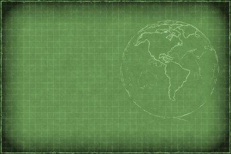 Green chalkboard background with earth  Americas  and copyspace photo