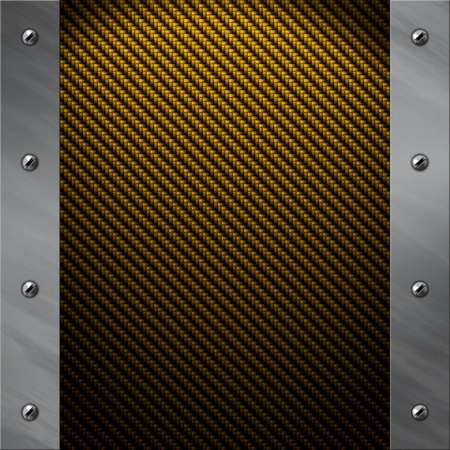 Brushed aluminum frame bolted to a golden real carbon fiber background photo