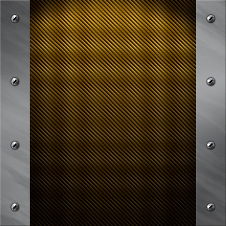 bolted: Brushed aluminum frame bolted to a golden real carbon fiber background