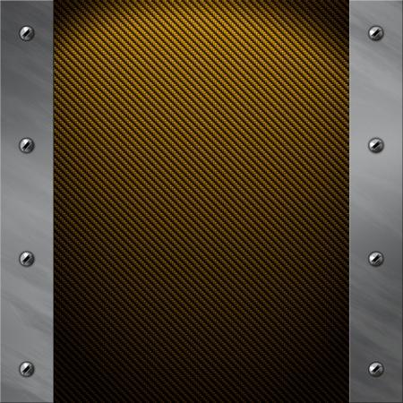 brushed gold: Brushed aluminum frame bolted to a golden real carbon fiber background