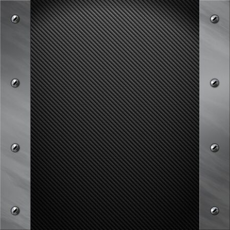 bolted: Brushed aluminum frame bolted to a grey real carbon fiber background Stock Photo