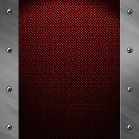 carbon fibre: Brushed aluminum frame bolted to a red real carbon fiber background