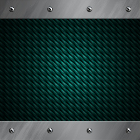 brushed metal: Brushed aluminum frame bolted to a blue carbon fiber background
