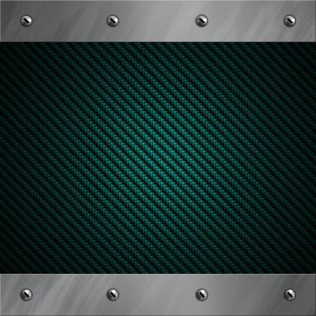fibra de carbono: Marco de aluminio pulido atornillado a un fondo de fibra de carbono azul