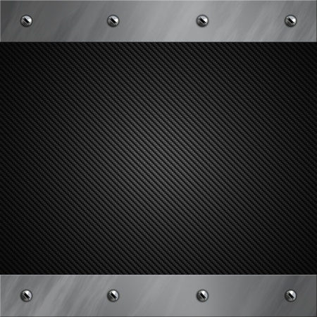 Brushed aluminum frame bolted to a grey real carbon fiber background Stock Photo