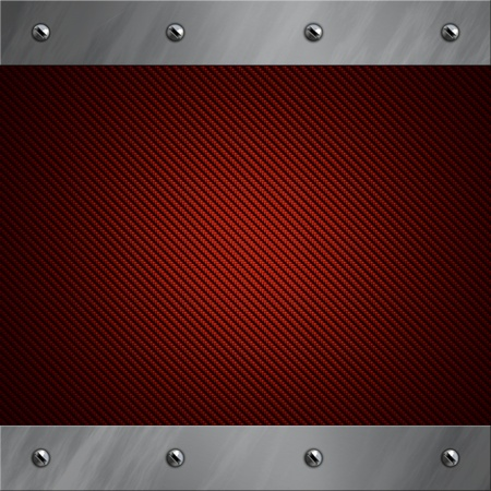 Brushed aluminum frame bolted to a red real carbon fiber background