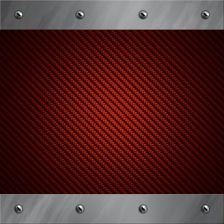 Brushed aluminum frame bolted to a red real carbon fiber background Stock Photo - 13371364