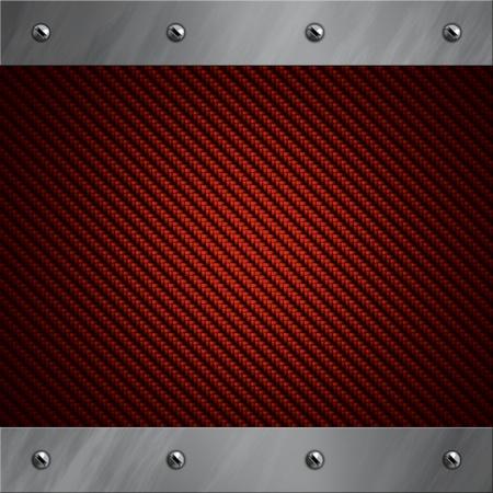 composite: Marco de aluminio pulido atornillado a un fondo rojo real de fibra de carbono Foto de archivo