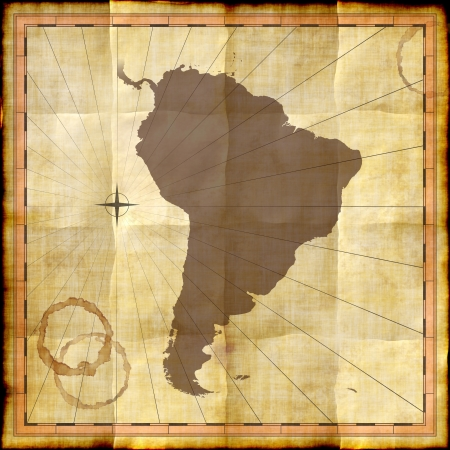South America on old paper with coffee stains photo