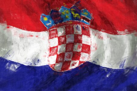 Flag of Croatia abstract painting background photo