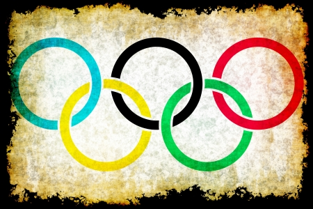 olympic symbol: Olympic rings grunge background Editorial