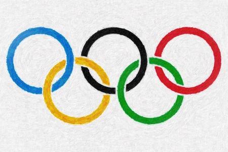 deportes olimpicos: Aceite de anillos olímpicos de fondo la pintura Editorial