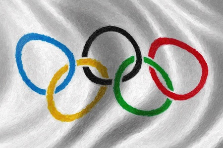 olympiad: Olympic rings flag oil painting background Editorial