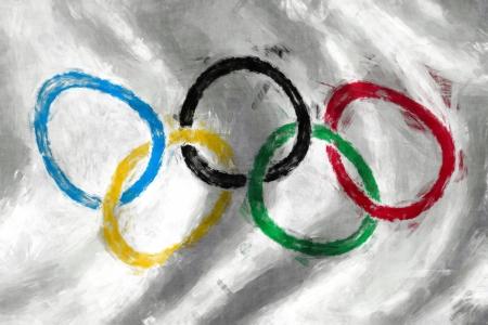 deportes olimpicos: Olímpico bandera de los anillos de la pintura al óleo de fondo