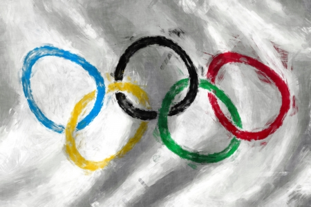 olympic sports: Olympic rings flag oil painting background Editorial