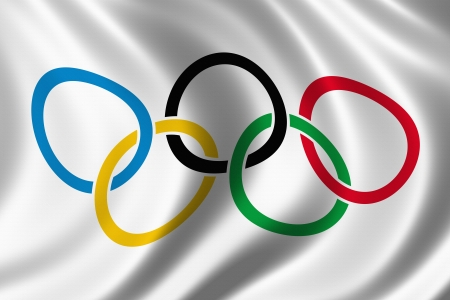 olympic game: Olympic rings flag silk background Editorial