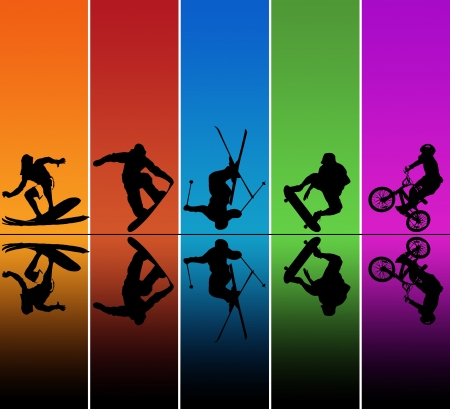 Active sports silhouettes over a rainbow background photo