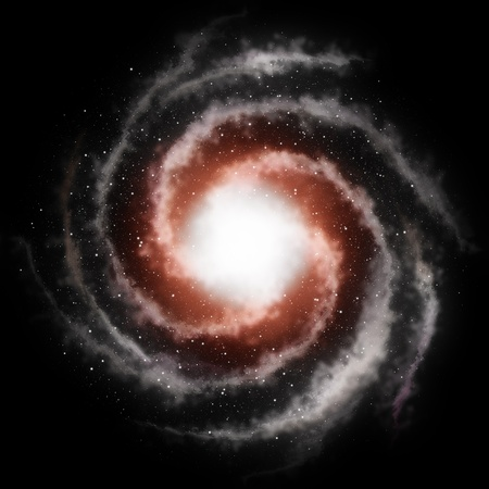Spiral galaxy against black space and stars in deep outer space photo