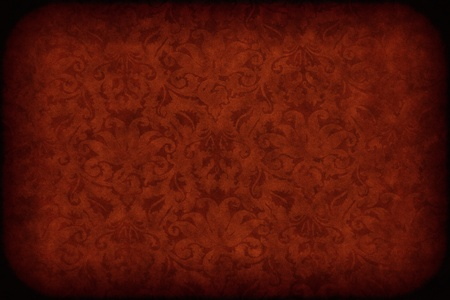 Red dark wall with old floral pattern background or texture photo