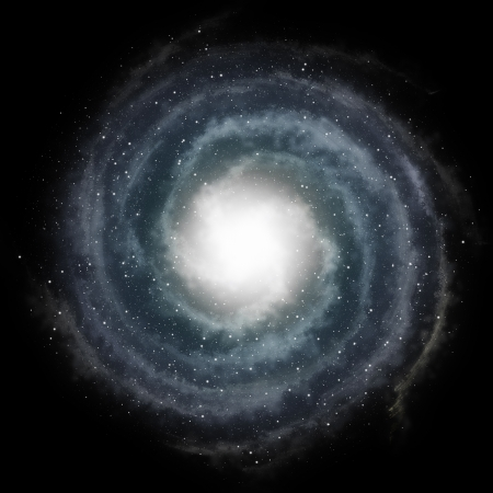 Blue spiral galaxy against black space and stars in deep outer space